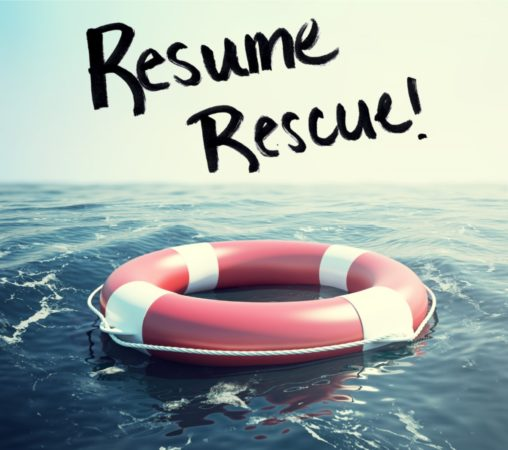 Life buoy on water with Resume Rescue text