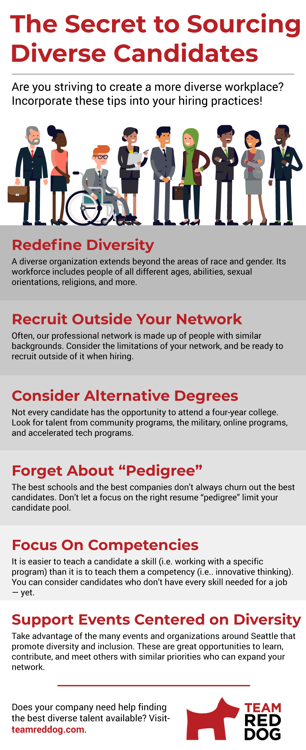 Infographic on strategies to source diverse candidates