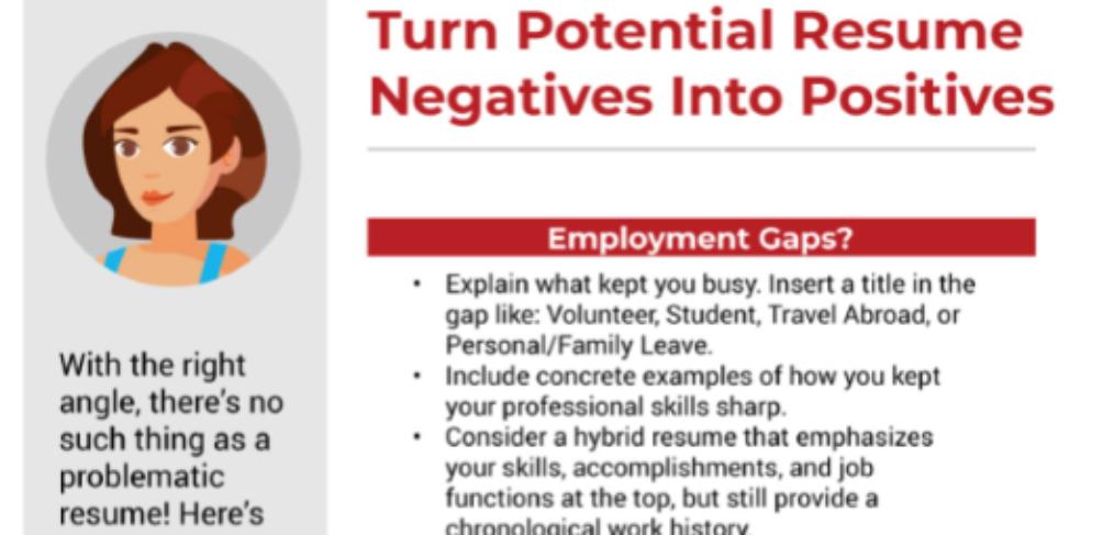Transform resume negatives infograpic